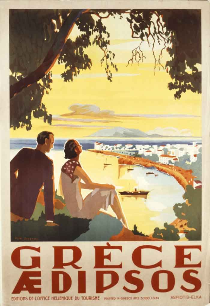 Amazing! A poster of Aedipsos, Greece from 1934!