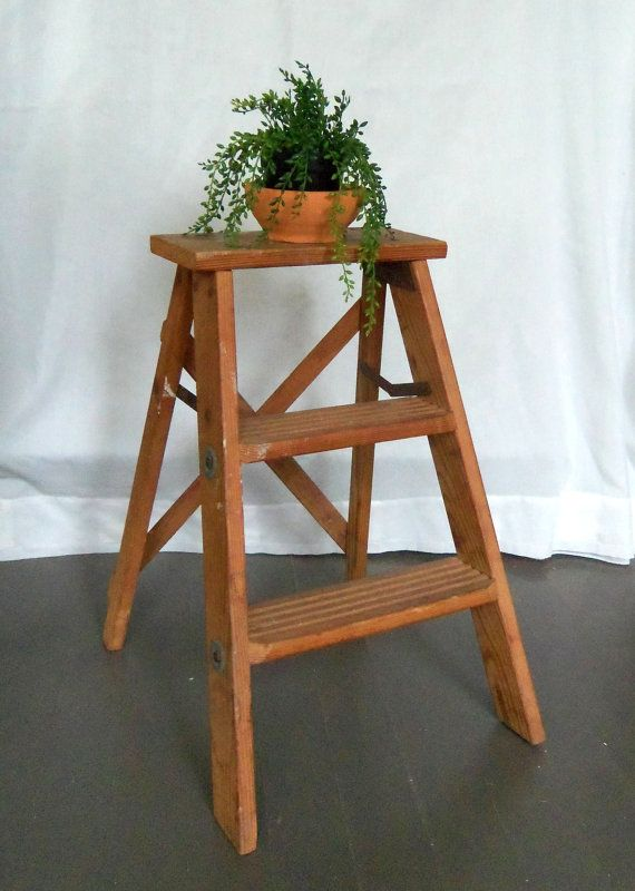 Rustic Wooden Step Ladder Vintage Stool By Beehavenhome On