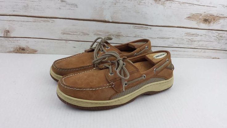 SPERRY TOP SIDER MENS Deck Boat Shoes Tan Size 10 W #SperryTopSider #BoatShoes