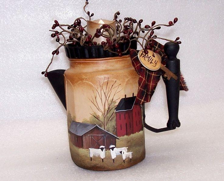 Vintage Coffee Pot Candle Holder Primitive Folk Art Amish Farm Buggy Rjpe | eBay