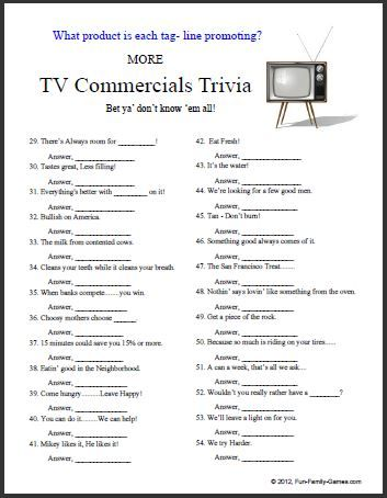 Our new TV Commercials Trivia game has some easy, some not-so-easy, some current ones and some from the past.