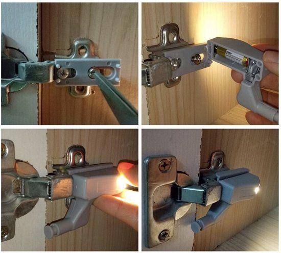 Automatische Led Scharnier Kast Lamp Set Van 4 Stuks