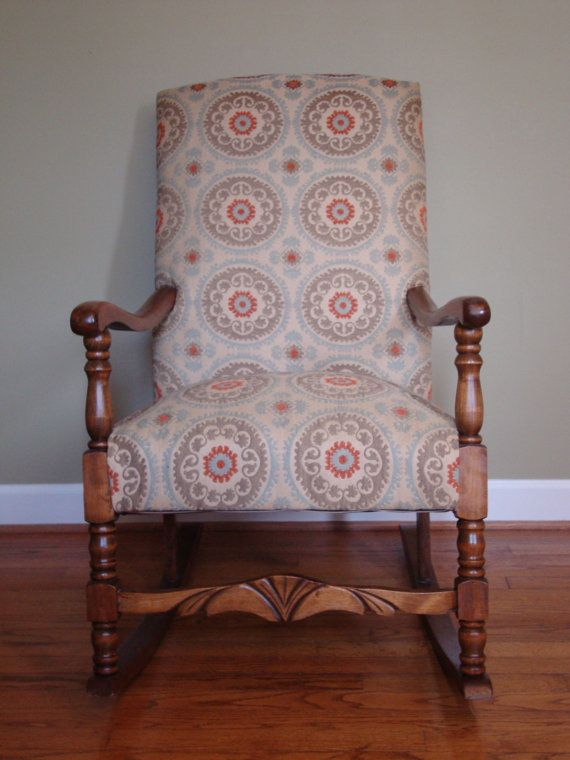 Upholstered Rocking Chair in Suzani Fabric by VaVaVintageFurniture - Best 25+ Upholstered Rocking Chairs Ideas On Pinterest Rocking