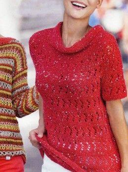 Красный пуловер с короткими рукавами