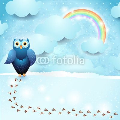 #Sky background with #owl  #vector #stockimage