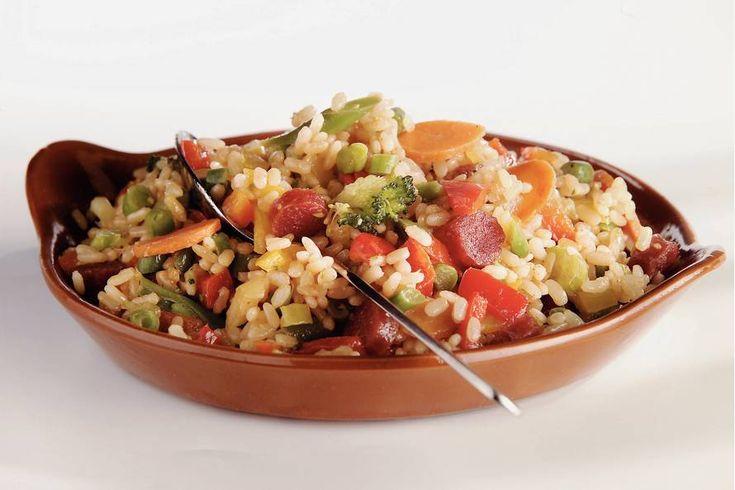 Kijk wat een lekker recept ik heb gevonden op Allerhande! Mexicaanse risotto met cervelaatworst