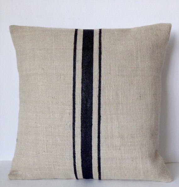 Burlap Pillows Grain Sack Pillows Ivory Black Stripes Rustic Farmhouse Beach Jute Throw Pillows Country All Sizes Gift Wedding Anniversary  This ivory burlap handmade pillow has black generations old stripes that adorned cloth sacks used to carry French grains and flours. Here on is ivory burlap with black print. I also offer the same in 14 different burlap colors as shown in picture 3 and paint color options given in the pull down menu on the top right hand corner.  Details - INSERT NOT…