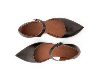 Damenschuhe schwarz / weiß-Wohnungen Ledersandalen von vidersShoes