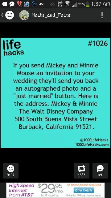 Disney FYI #weddinginvites #disneywedding #destinationweddingexperts We are soooooo doing this!!!! :D
