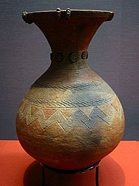 1st-3rd c jar from the Yayoi period, excavated in Kugahara, Tokyo.  Tokyo National Museum.  Yayoi period is an Iron age era in Japanese history, traditionally dated 300 BCE to 300 CE. http://en.wikipedia.org/wiki/Yayoi_period