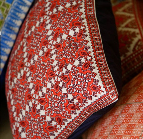Palestinian embroidered pillow.