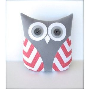 coral pillow coral owl coral chevron pillow by whimsysweetwhimsy