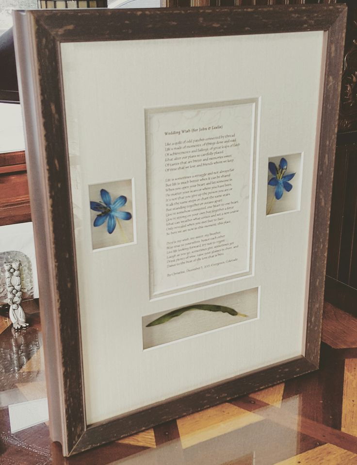 Wedding poem in a custom shadowbox makes