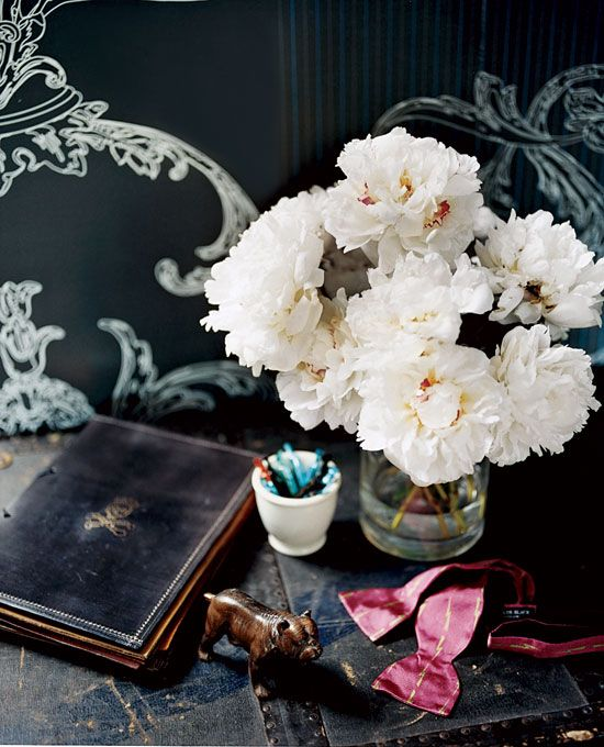 White peonies on desk #camillestylesWhite Flower, Colors, White Decor, Bedside Tables, Fresh Flower, White Peonies, Black Wall, Dark Wall, Abigail Ahern