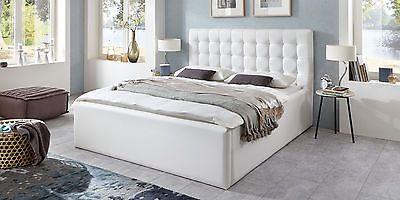 Bett mit Bettkasten Polsterbett Lattenrost Doppelbett 140 160 180x200 Weiß Molly