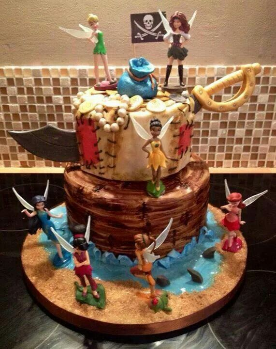 Tinkerbell pirate theme cake. Anna would love this. Only if I could do something…