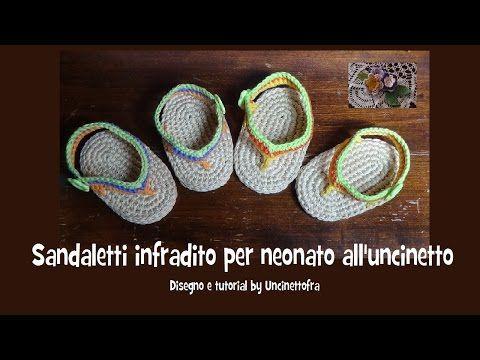 sandaletti infradito per neonato all'uncinetto tutorial - YouTube
