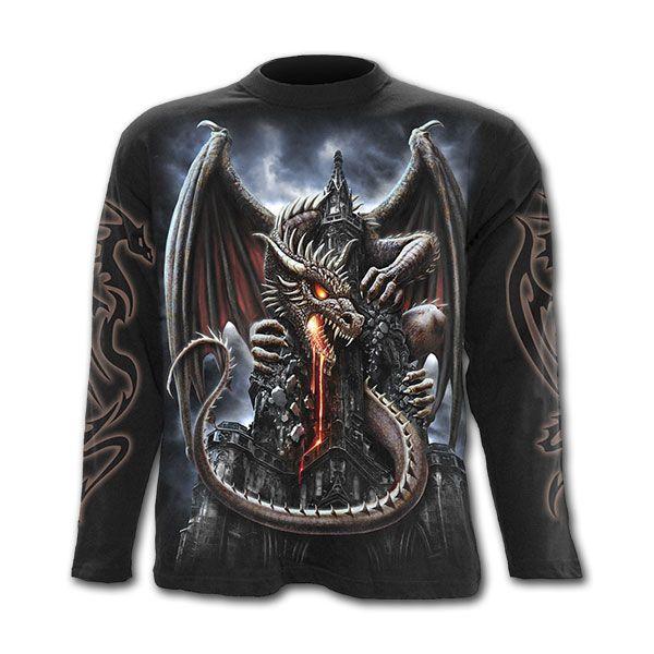 DRAGON LAVA Longsleeve t-shirt black mens gothic goth metal Spiral Direct