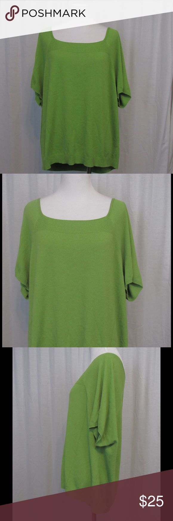 "NWT Talbots Green Short Sleeve Top 3X NEW Brand: Talbots Size: 3X Color: Green Material: 65% rayon 35% nylon Care Instructions: machine wash  Bust: 48"" Length: 24""  All clothing is in excellent used condition. All clothes have been inspected and unless otherwise noted have no rips, holes or stains.   Cont: P15 Talbots Tops Blouses"
