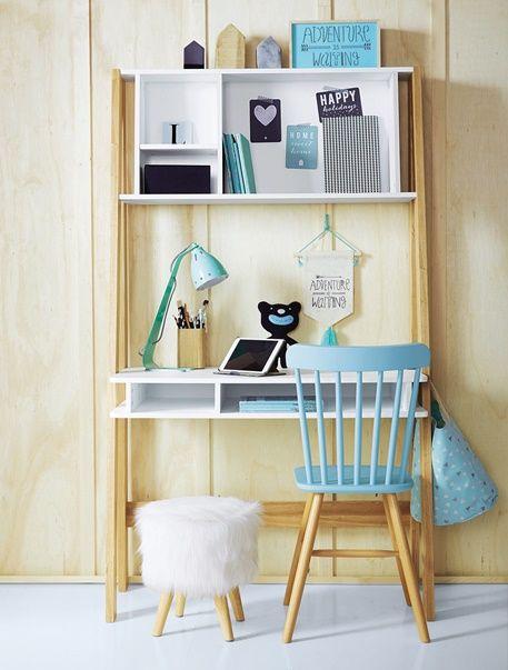 Bureau junior Architekt avec étagères - Blanc/bois - 3