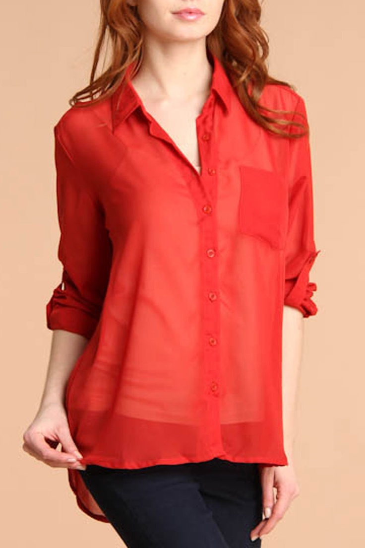 Timing Long Sleeve Hi-Lo Blouse In Red - Beyond the Rack