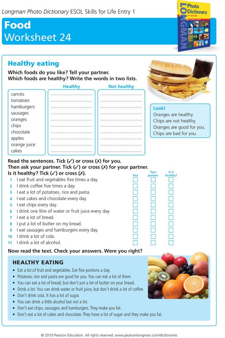 healthy eating worksheet Healthy recipes, Healthy eating