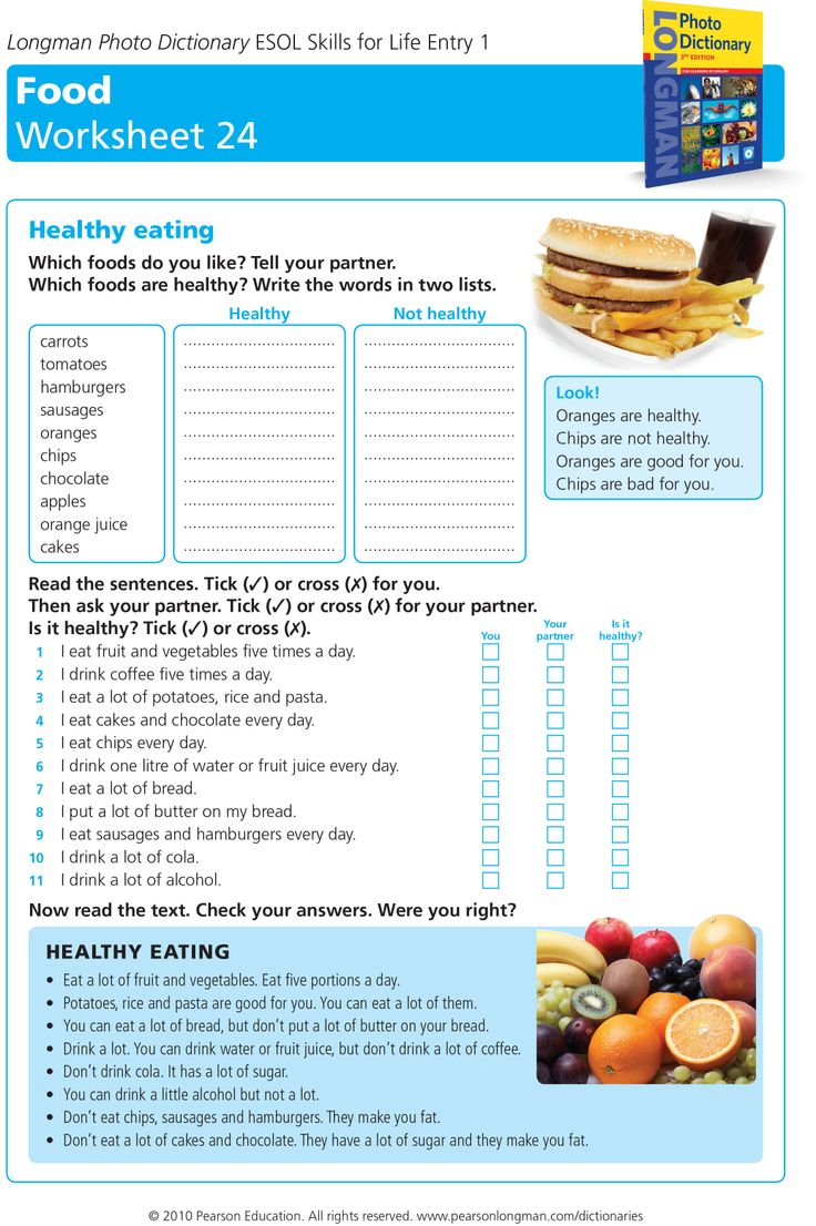 healthy eating worksheet   TEP   Pinterest