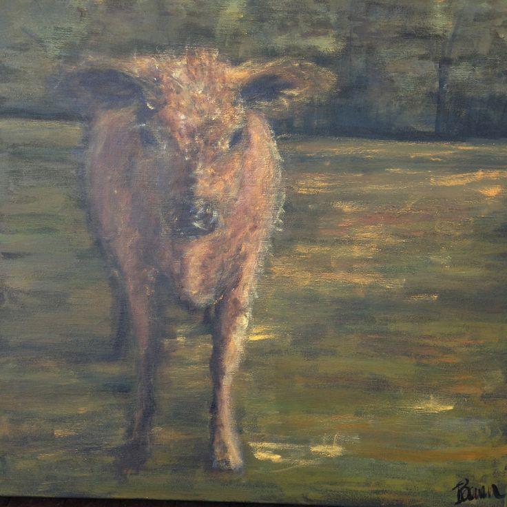 Ginger calf, Acrylic on canvas 2014. Ingrid Bowen Art