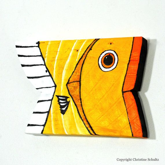 Wood Fish Art Reclaimed Wood Painted Yellow and by TaylorArts