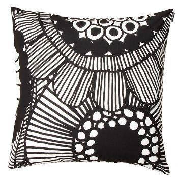 Marimekko's Siirtolapuutarha cushion cover, black - white
