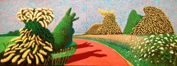 I was very surprised by this Yorkshire landscape by David Hockney, in his current show at Tate Britain. The works on display show Hockney's extreme versatility across his whole career. Here he conjures up a sharply surrealist effect that looks more like another planet than the East Riding.
