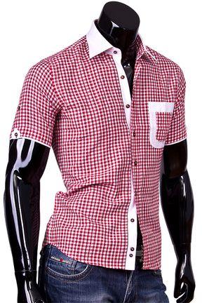 Купить Приталенная мужская рубашка с коротким рукавом из льна фото недорого в Москве