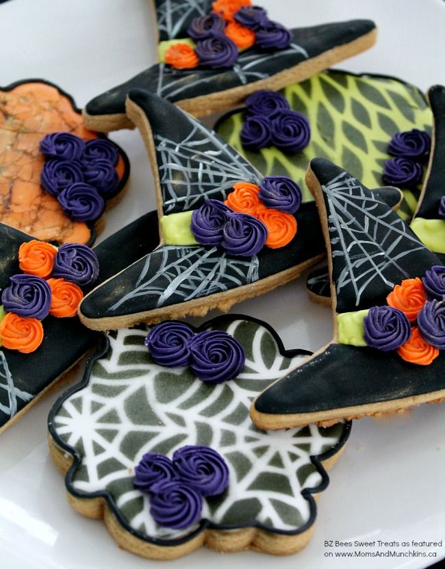Witch Hat Cookies - a fun cookie decorating tutorial perfect for a Halloween party or special treat for kids.