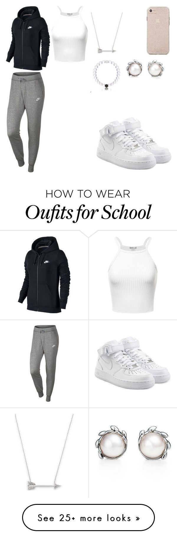 """HIGH SCHOOL STYLE"" by mgarcia-iii on Polyvore featuring NIKE, Tiffany & Co. and Estella Bartlett"