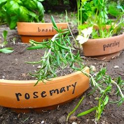 Don't toss those broken planters! Put them back to use and turn them into fun and unique Upcycle Herb Markers just like Hardly Housewives di...