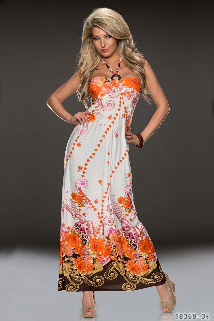 Γυναικείο μάξι φόρεμα σε άνετη γραμμή. Strapless με δέσιμο στο λαιμό. Διακοσμητικός κρίκος και χάντρες στα κορδόνια. Σφηκοφωλιά στην πλάτη  για άνετη εφαρμογή. Εμπριμέ μοτίβο σε όλο του το μήκος. Ποικιλία γήινων χρωμάτων σε λευκό φόντο. Φοριέται όλες τις ώρες με σανδάλια ή πλατφόρμες για να ανανεώνετε το στυλ σας.  Υλικά : 95% Polyester 5% Elastan