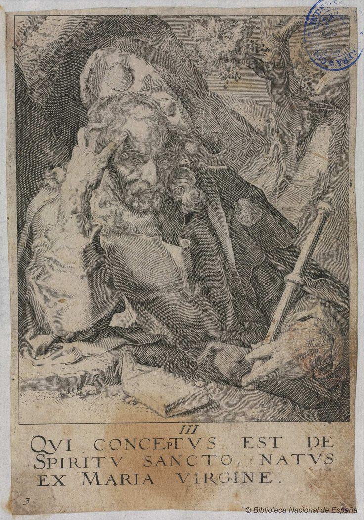 [Cristo, los doce Apóstoles y San Pablo: El Credo]. Anónimo s. XVII — Grabado — 1600-1700?