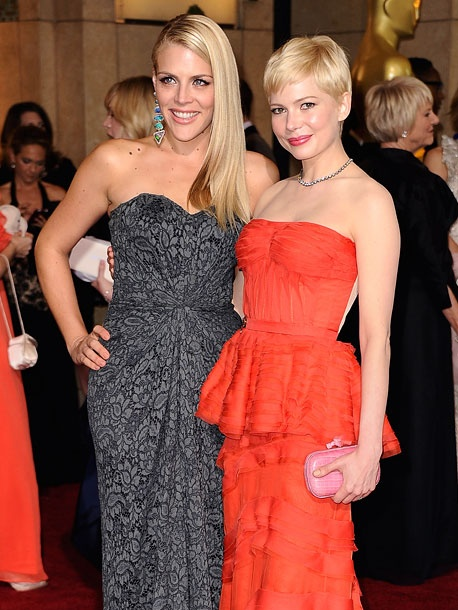 Nominee Michelle Williams with friend Busy Phillips