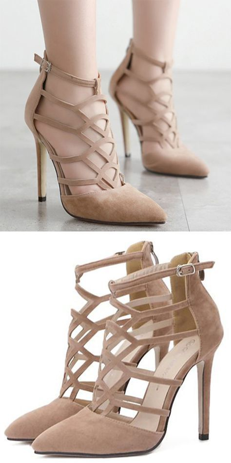$14.86 Hollow Out and Suede Design Pumps