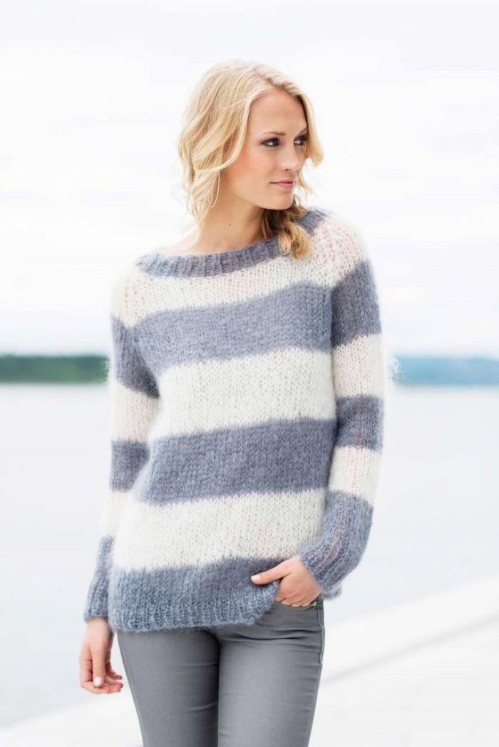 strikket genser dame striper