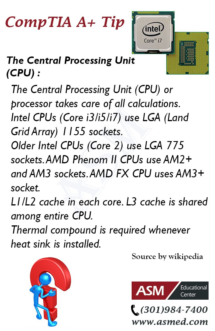 CompTIA A+Training / Tip - The Central Processing Unit (CPU). For more information to get certified for CompTIA A+ Please visit: http://www.asmed.com/comptia-a/