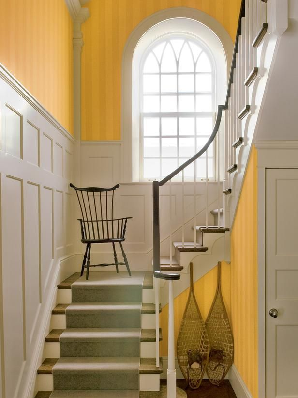 Warm yellow wallpaper brightens this traditional paneled staircase. (http://www.hgtv.com/designers-portfolio/room/traditional/entryways/12029/index.html?soc=Pinterest): Traditional Staircase, Panels Staircases, Staircases Wainscoting, The Yellow Wallpapers, Stripes Stairca, Carpets Stairca, Bright Yellow, Bright Colors, Wainscoting Staircases