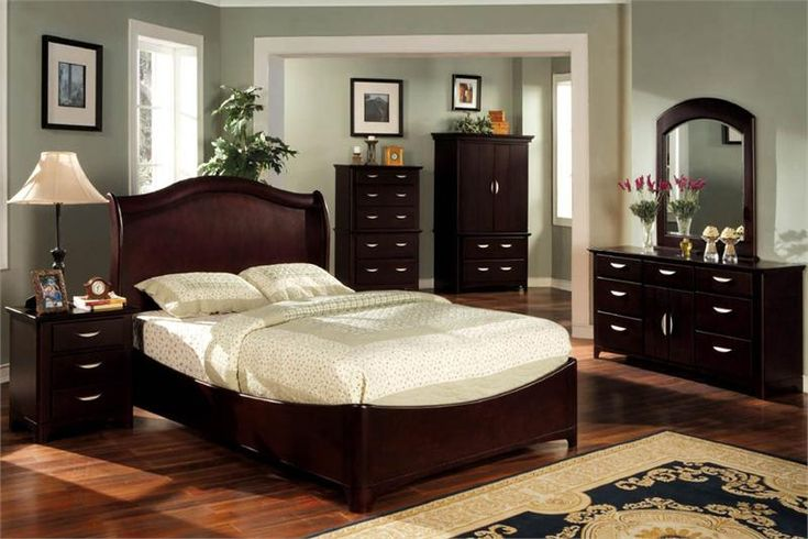 Grey Paint Colors For Bedroom With Dark Cherry Furniture