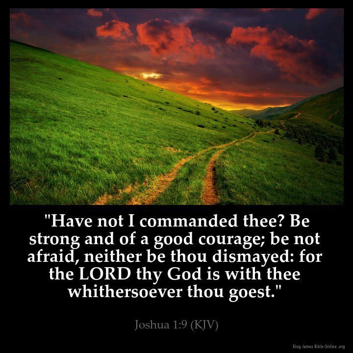 """Joshua 1:9 """"Have not I commanded thee? Be strong and of a good courage; be not afraid, neither be thou dismayed: for the LORD thy God is with thee whithersoever thou goest""""."""