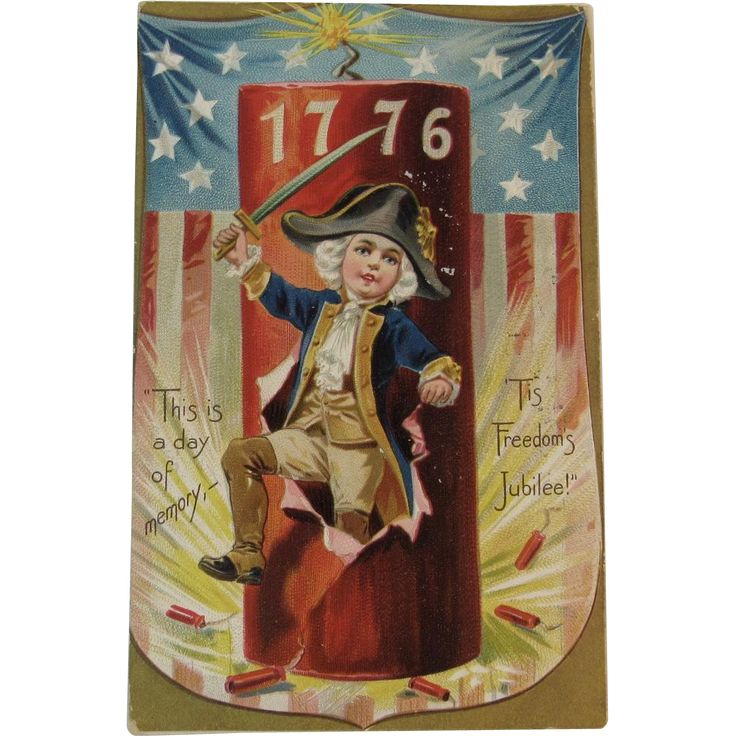 1908 Raphael Tuck & Sons July 4th 1776 Postcard Young George Washington US Flag Shield Firecrackers for the Fourth Embossed Saxony German Germany