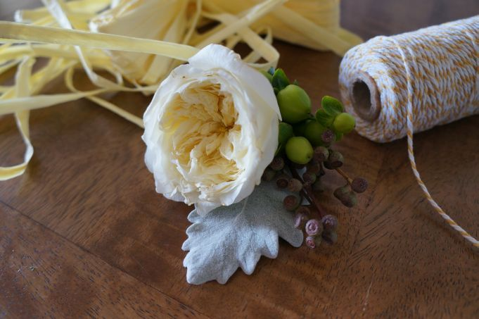 Simple buttonhole, David Austin rose, green hypericum and dusty miller