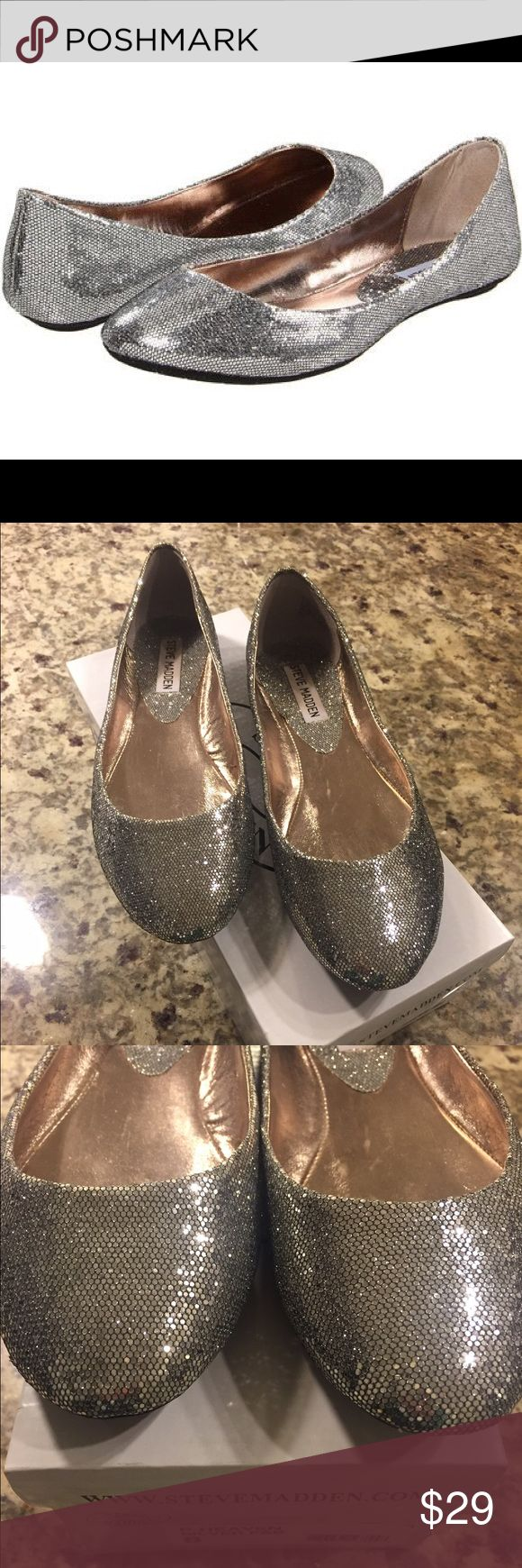 """Steve Madden P-Heaven Flats STEVE MADDEN P-Heaven flats. Size 8. NWT, never worn. Color is """"silver fab."""" Perfect condition, have been stored in plastic and in original box (see last picture). Just the right amount of glitter and sparkle! Steve Madden Shoes Flats & Loafers"""