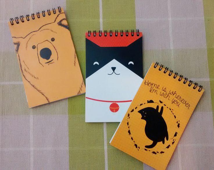 Libretas pequeñas #notebook #design #cat #bear #home