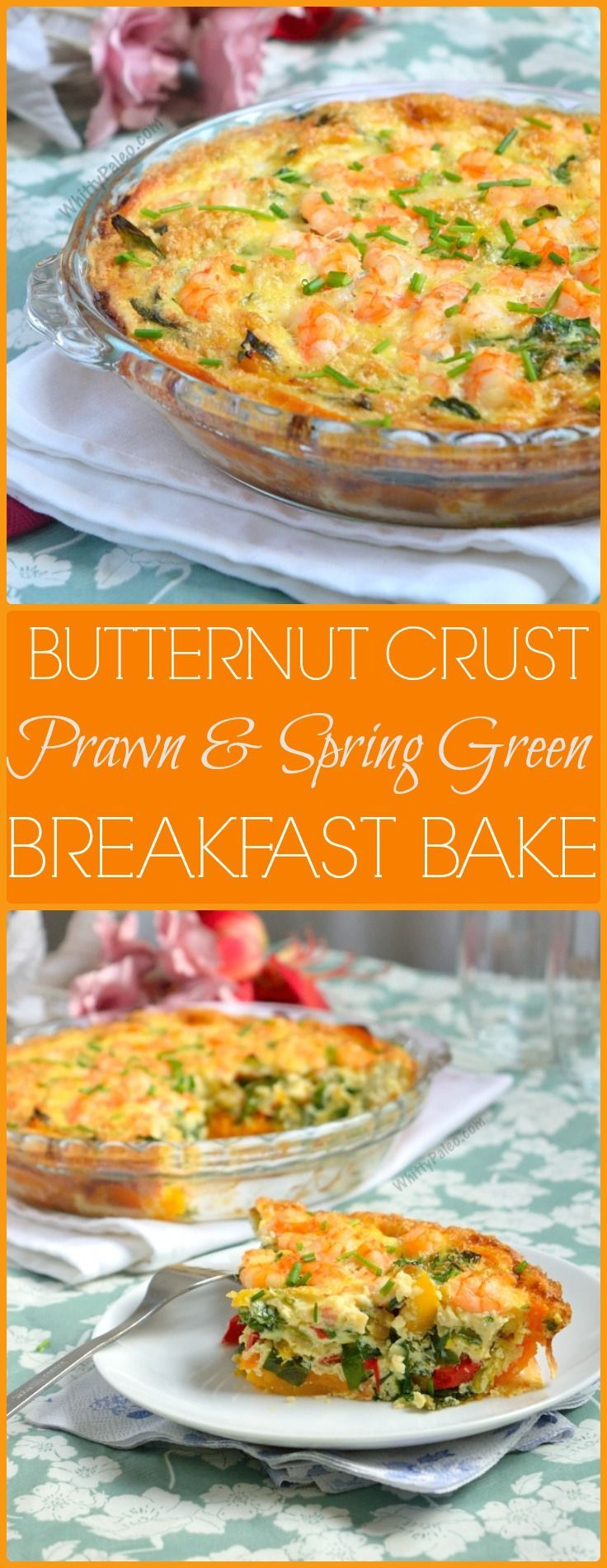 Butternut Crust Prawn Spring Green Breakfast Bake - Paleo, Gluten Free recipe from http://WhittyPaleo.com