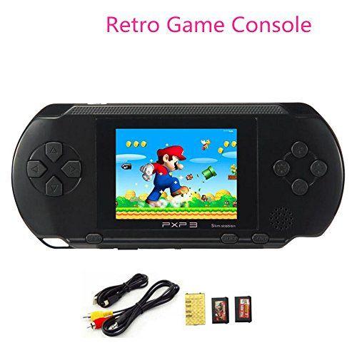 Huntmic+2.7″+LCD+Screen+PXP3+Slim+Handheld+Video+Game+Console+16Bit+Portable+Game+Players+Built+in+100++games+(Black)